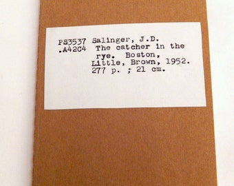 Catcher in the Rye notebook, Salinger book lover gift, gift under 15, stocking stuffer, pocket journal, literature teacher, English major
