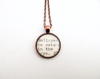 Gift under 20, Catcher in the Rye book necklace, book lovers jewelry, library jewelry, gifts for readers, Salinger fan