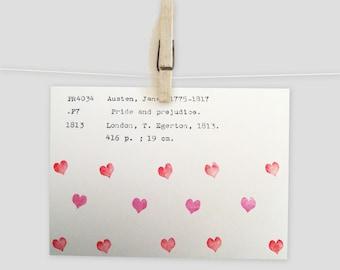 Jane Austen card, Pride and Prejudice greeting card, library cards, Pride and Prejudice Valentine, Jane Austen fan, romantic card