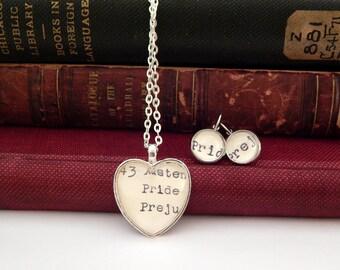 Jane Austen jewelry set, Pride and Prejudice jewellery set, book jewellery, gift for readers, mothers day gift, jewelry set gift, book lover