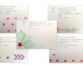 Jane Austen greeting card set, literature postcards, Jane Austen postcard set, Pride and Prejudice, Austen fan, library cards, vintage cards