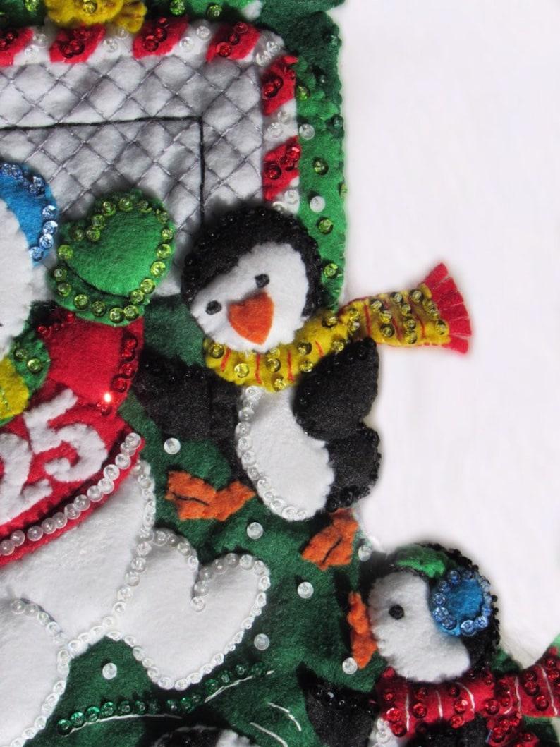 Bucilla Snowman Soccer Fan Penguin Christmas Stocking Holiday Home Decor
