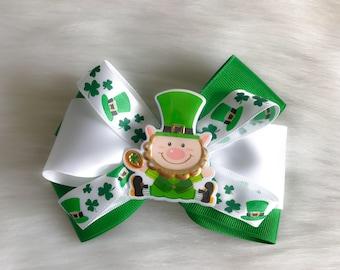 St Patricks Day Bow , Lucky , Green And White , Irish, leprechaun