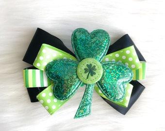 St Patricks Day Bow , Lucky , Green And White , Irish, leprechaun, Clover