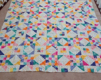 """Bright scrappy stars quilt top.  Measures 62""""x62"""""""