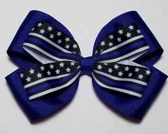 "ribbon bow 4/"" police thin blue line hair bow blue lives I pledge hair bow clip"