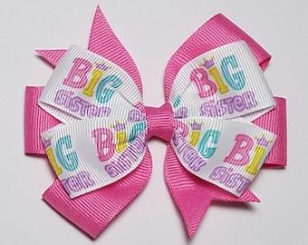 "Girls Handmade big sister glitter 4/"" hair bow clip"
