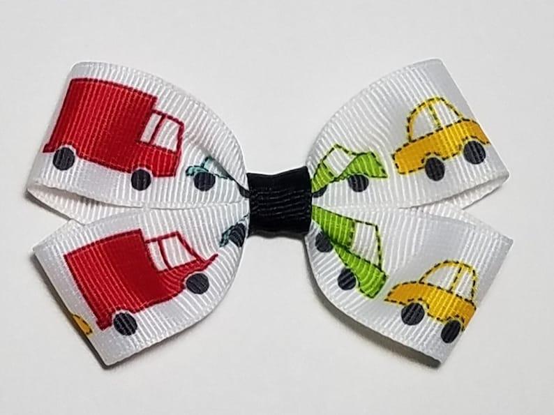 3 Transportation Clip School Bows Cars Hair Bow Cars Birthday Car Gift Girl Car Barrette Truck Ponytail Transportation Ponytail