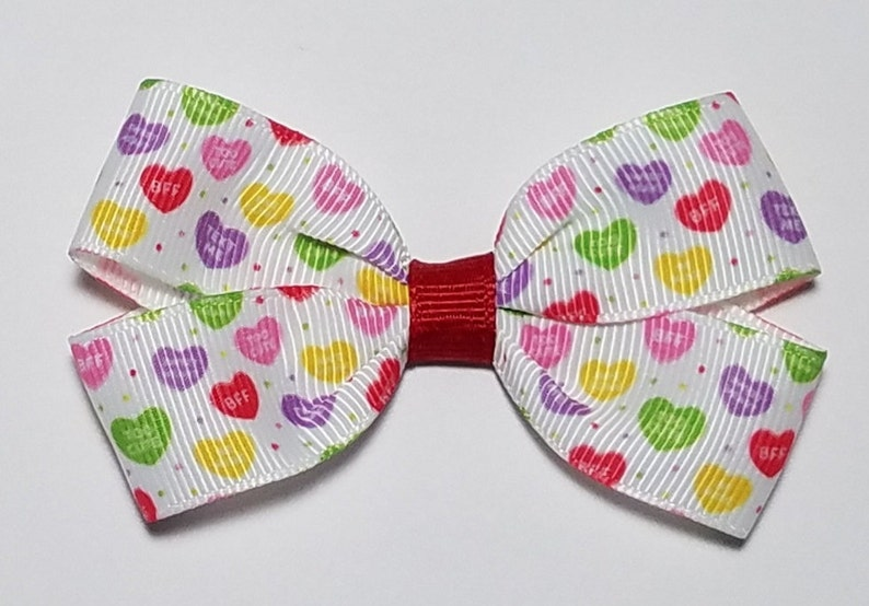 Valentine Pigtail 3 Conversation Heart Clip Cute Holiday Bow Valentine Hair Bow Valentine Headband Gift for Girl Valentine Barrette