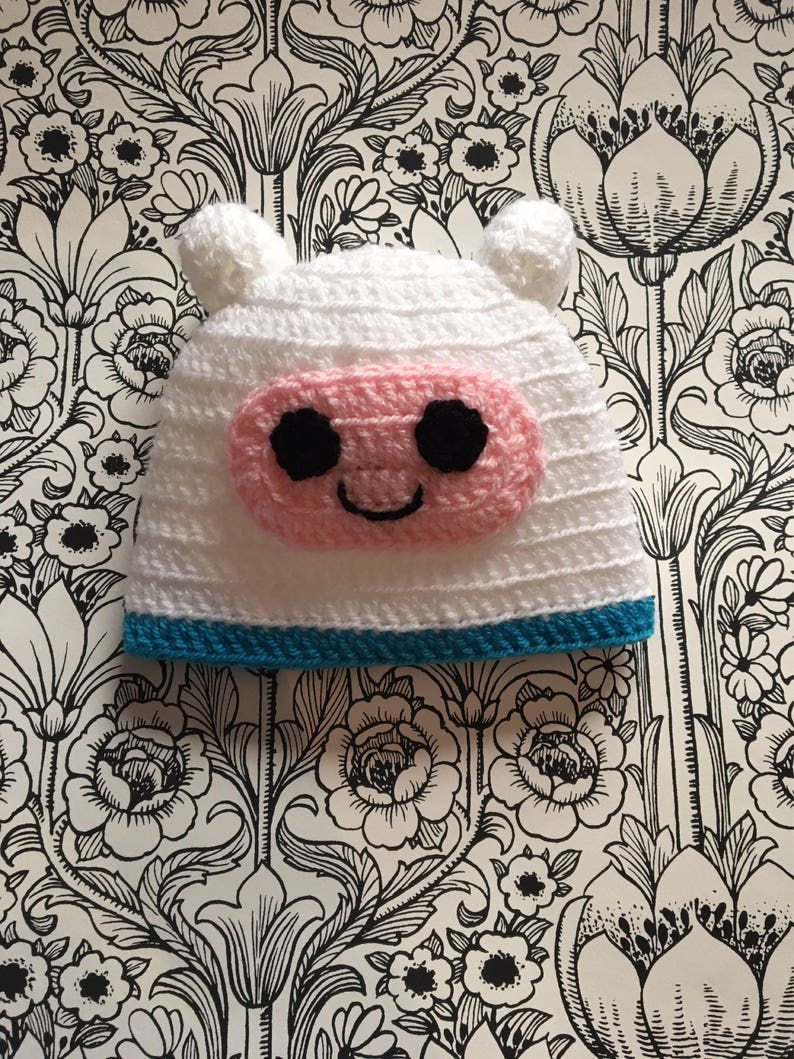 a9e0ddffaa0 Adventure Time hat Finn the human Hand crocheted in soft