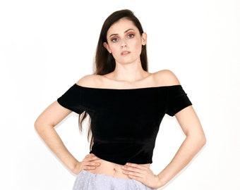 Alexandra Off Shoulder Black Saree Blouse