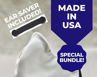 Washable Face Mask/Ear Saver Bundle With Nosewire, Filter Pocket And Elastic Loops