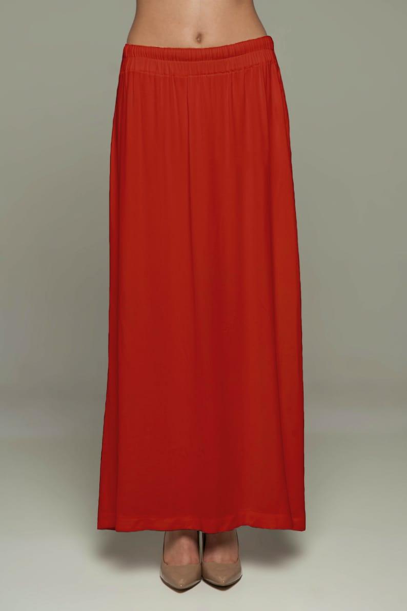 Red Saree Petticoat  Drawstring Pull-On Maxi Skirt image 0