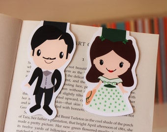 Set of Gone with the Wind Magnetic Bookmarks   Scarlett O'Hara and Rhett Butler