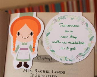 Set of Anne of Green Gables Magnetic Bookmarks   Anne Shirley and Quote