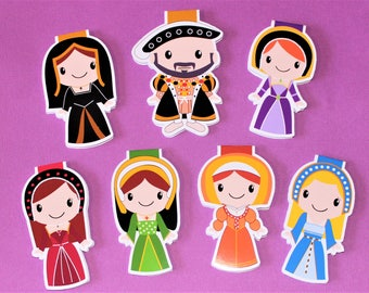 Henry viii and Six Wives Magnetic Bookmarks Individuals and Set | Historical Characters (Tudors)