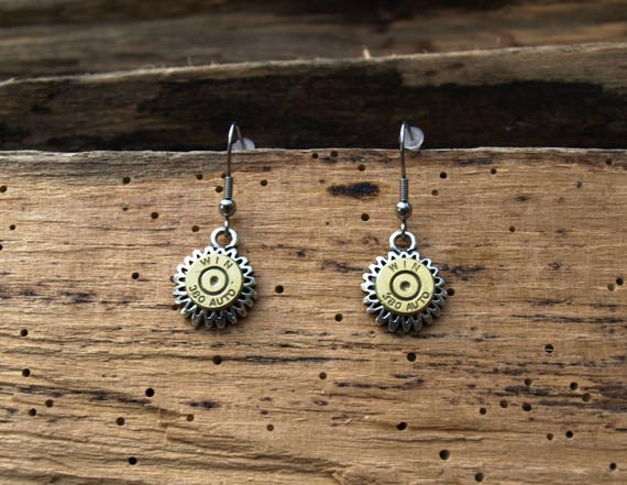 Necklace and Earrings with Starburst Charm and Brass 380 Bullets S615