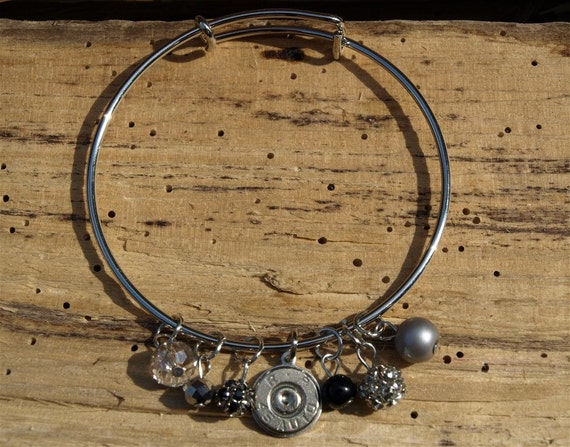 Bangle 45 Auto BRASS Bullet Bracelet with Brown /& Gold Beads and Charms B429