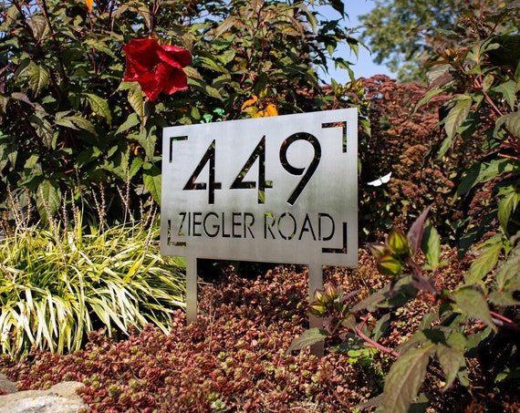 Stainless Steel Address Sign with Stakes   Custom Address Sign   Yard Address Sign