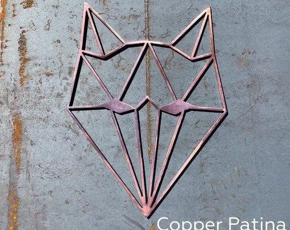 Geometric Animals Metal Wall Art | Geometric Wolf | Geometric Bear | Geometric Fox | Rustic Nursery Decor