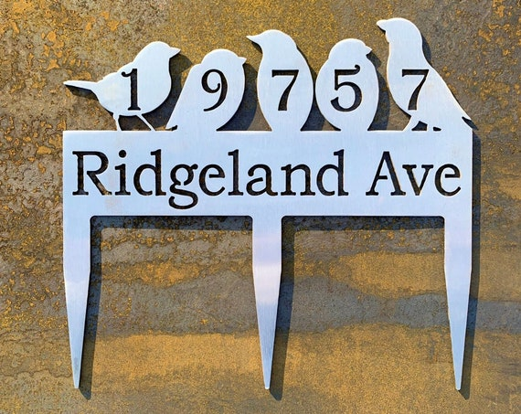 Stainless Steel Address Sign with Stakes | Bird Address Sign | Yard Address Sign