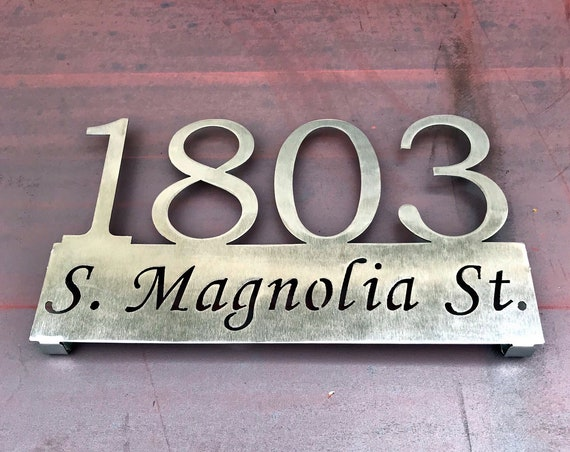 Stainless Address Sign |  Modern Address Sign | Address Sign with Street Name | Metal Address Plaque | Housewarming Gift