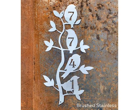 Vertical Birds Address Sign | Metal Birds Home Address Sign | Custom Address Sign | Metal House Number