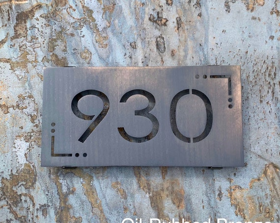 Modern Stainless Steel Address Sign | Metal Address Sign | Modern House Numbers | Mid-Century Address Sign |