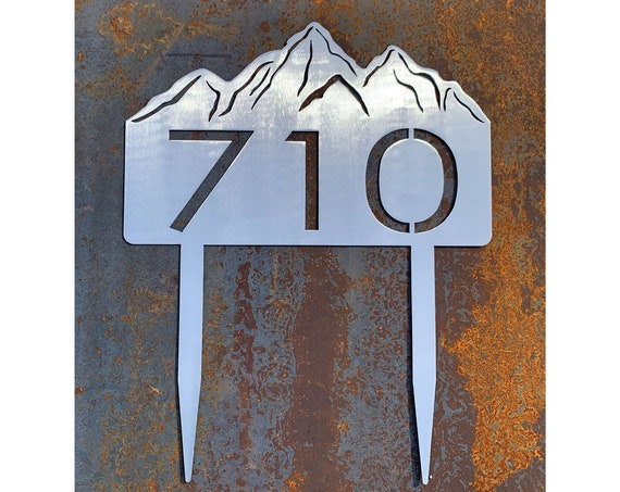 Address Sign with Stakes | Mountain Address | Metal Address Sign | Stainless Steel Address Sign | Address Sign for Yard