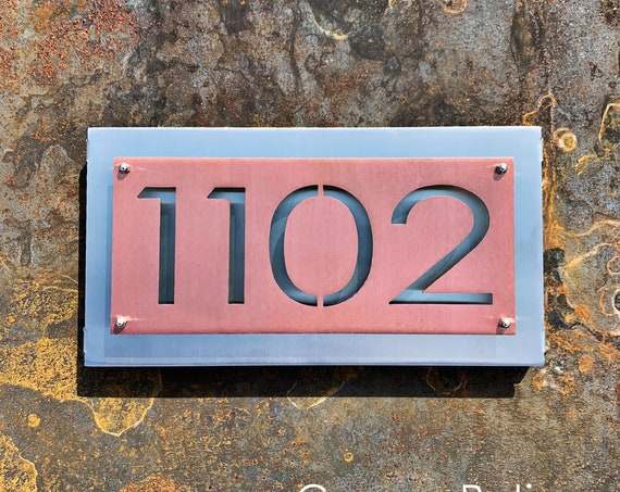Modern Metal Address Sign | Stainless Address Plaque | Metal House Numbers / Mid Century Modern Address