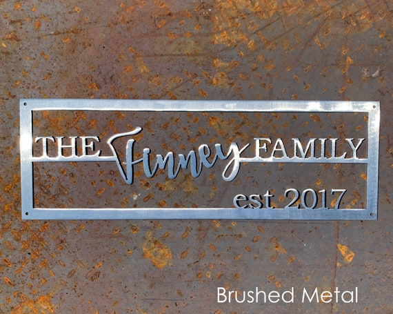 Last Name Sign with Established Date | Steel Family Name Sign | Custom Wedding Gift | 11th Anniversary Gift | Custom Outdoor Sign