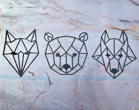 Geometric Animals Metal Wall Art | Geometric Wolf | Geometric Bear | Geometric Fox | Rustic Nursery Decor