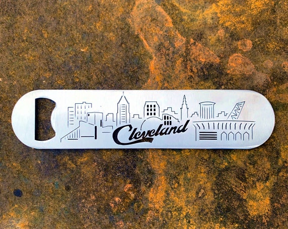Cleveland Skyline Bottle Opener | Cleveland Script Stainless Steel | Ohio Gift | Cleveland Stocking Stuffer | Cleveland Groomsmen | Unique