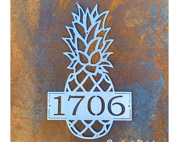 Pineapple Address Sign Metal | Modern Pineapple Address Plaque | Stainless Steel Pineapple House Numbers | Custom Address Sign Metal