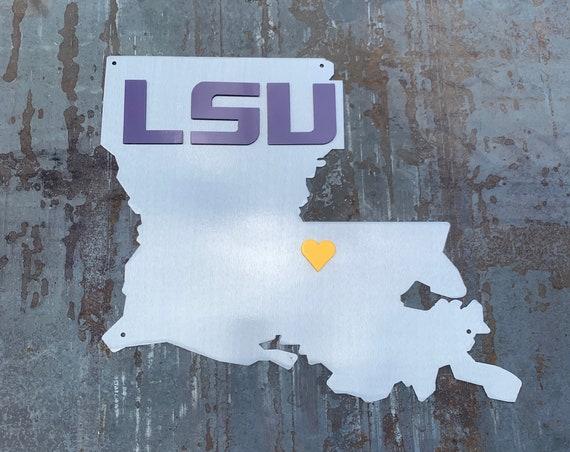 Louisiana Wall Art | LSU Metal Art | Gift for LSU fan | LSU Tigers | Who Dat