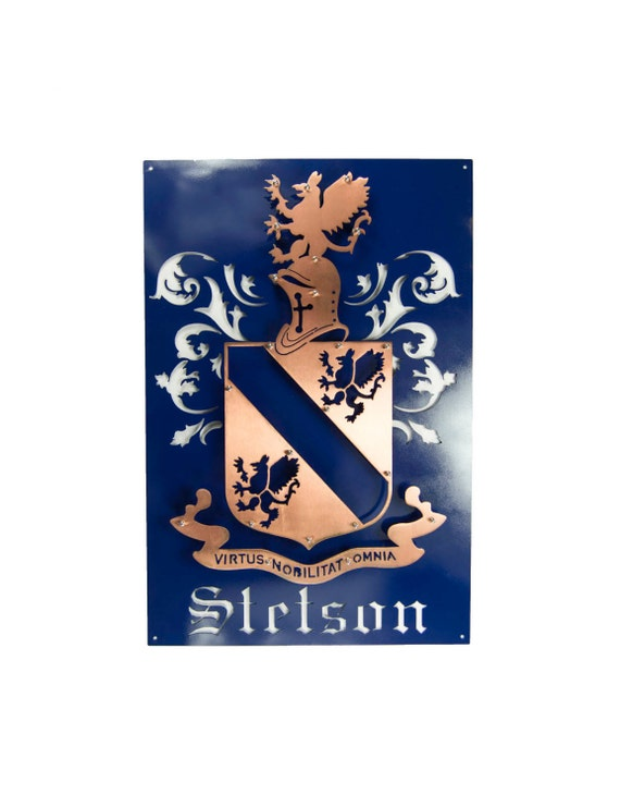 Family Crest | Custom Metal Art | Coat of Arms | 11th Anniversary Gift | Last Name Gift