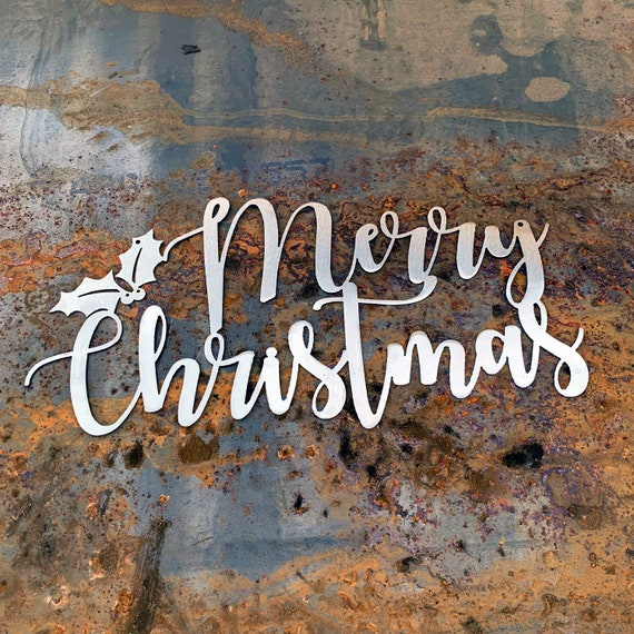 Merry Christmas Metal Script Sign | Stainless Steel Christmas Decor | Holiday Hostess Gift | Outdoor Christmas | Farmhouse Christmas Decor