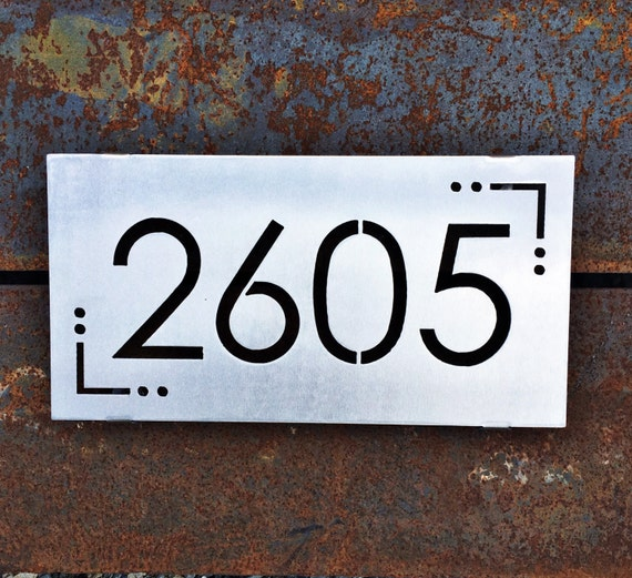 Modern Stainless Steel Address Sign | Metal Address Sign | Housewarming Gift | Mid-Century Address Sign