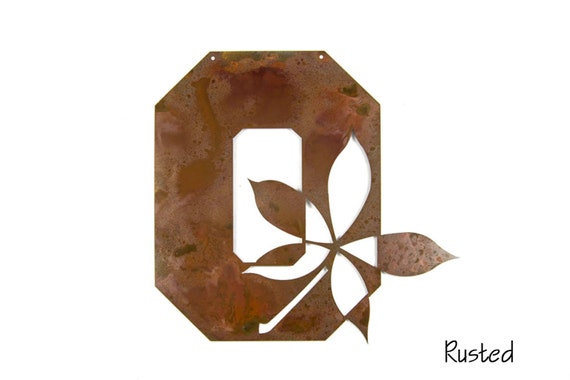 Ohio State O with Buckeye Leaf | Buckeye Wall Art | Ohio State Metal Art | OSU Graduation Gift