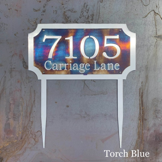 Stainless Steel Address Sign with Stakes | Custom Address Sign | Yard Address Sign | Address Sign for Lawn