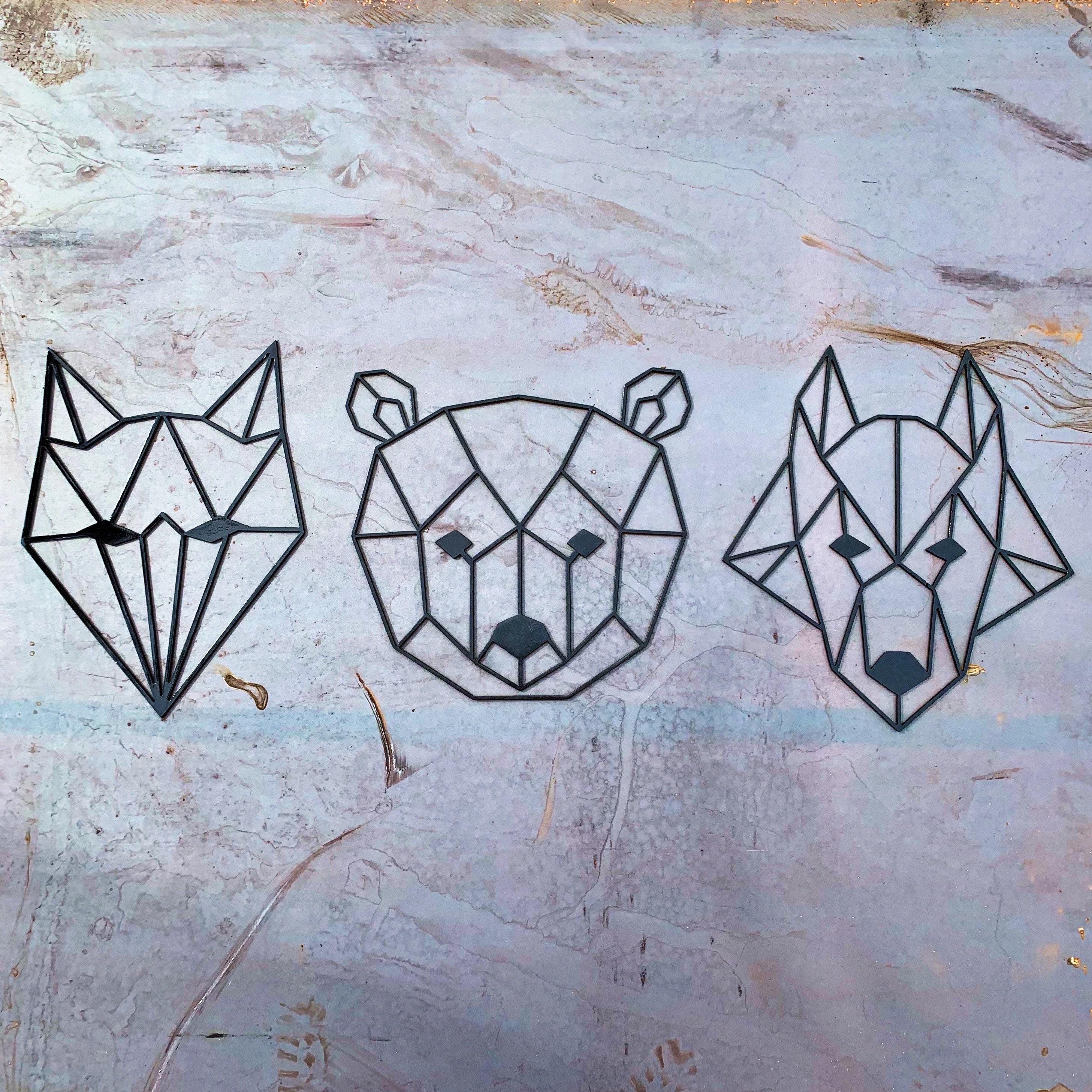 Geometric Animals Metal Wall Art Geometric Wolf