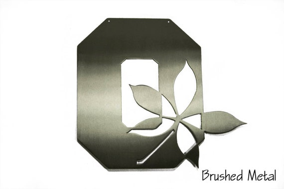 Ohio State O with Buckeye Leaf | Ohio State Metal Wall Art | OSU Grad Gift