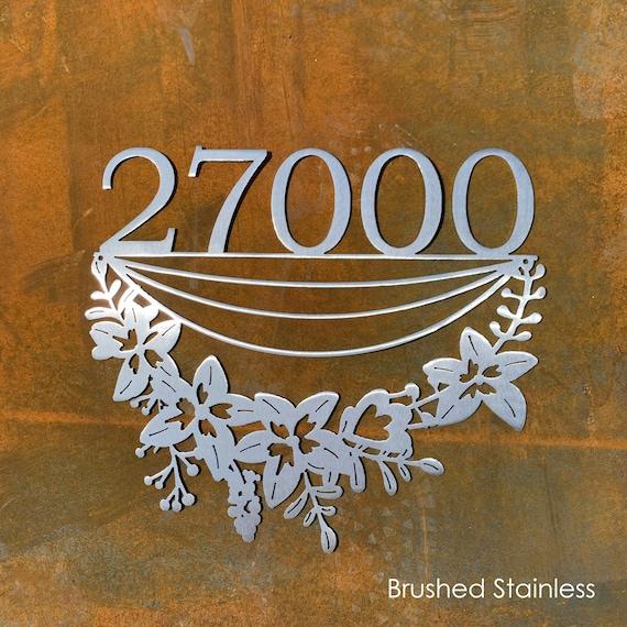 Flower Address Sign | Custom Metal House Numbers | Cottage Address Sign | Modern Address | Stainless Steel Address | Garden Sign
