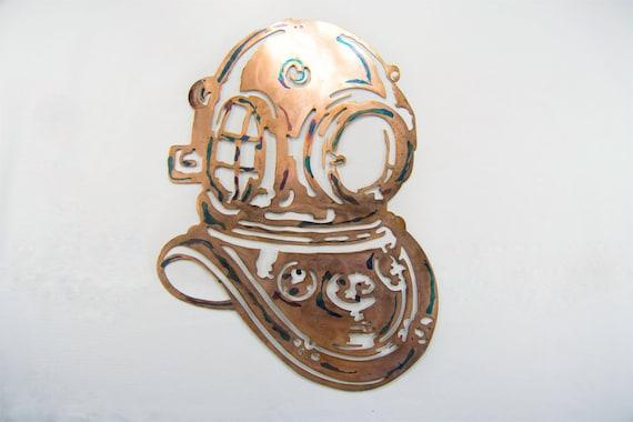 Dive Helmet Wall Art | Nautical Art | Metal Art | Gift For Diver | Beach House Decor | Ocean Decor | Under the Sea