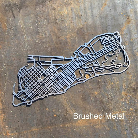 Key West Map Metal Wall Art