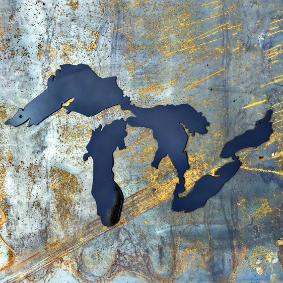 Great Lakes Metal Wall Art, torch blue | Michigan Art | Fathers Day GIft