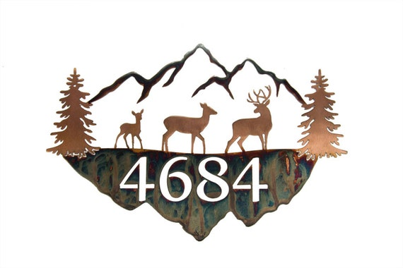 Mountain Address Sign | Mountain Last Name Sign | Metal House Numbers | Rustic Address Sign | Log Cabin Sign