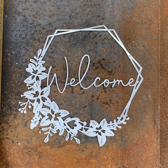 Welcome Sign | Floral Welcome Wreath | Metal Welcome Sign with Flowers | Welcome Sign for Door