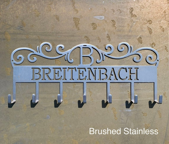 Personalized Coat Hooks | Custom 11th Wedding Anniversary GIft | Stainless Steel Wall Hooks