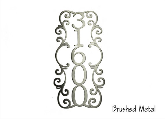 Custom Vertical Address Sign | Metal Address Sign | Address Sign with Scroll-work | Metal House Numbers | Custom Outdoor decor